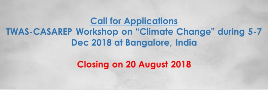 "Call for applications: TWAS-CASAREP Workshop on ""Climate Change"""